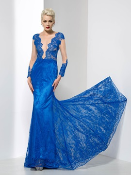 Sexy Sheer Neck Long Sleeves Sheath Lace Evening Dress