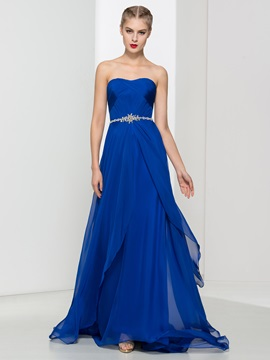 A-Line Strapless Pleats Beading Long Evening Dress