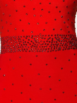 Graceful Halter Beading Red Sheath Evening Dress