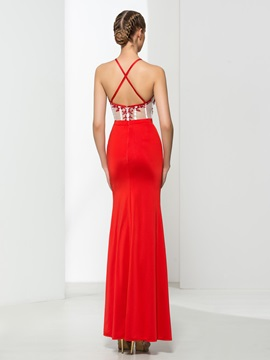 Chic Embroidery Sheath Split-Front Red Evening Dress