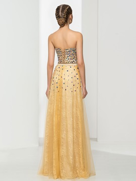 Luxurious Sweetheart Beading Lace Evening Dress
