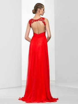 Amazing Straps Appliques Backless Red Evening Dress