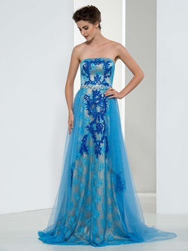 Dramatic Strapless A-Line Appliques Beading Long Evening Dress
