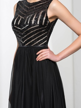 Tidebuy Straps V-Back Sequins Black Evening Dress