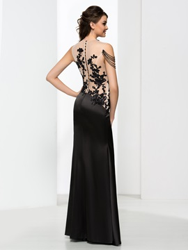 Button Appliques Black Sheath Evening Dress