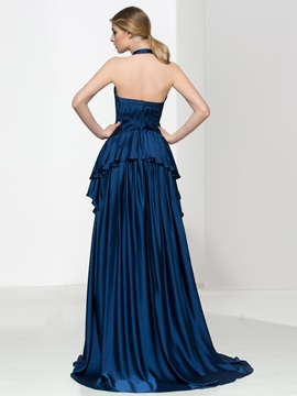 Timeless Halter Pleats Tiered Long Evening Dress