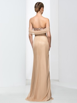 Off the Shoulder Sequins Draped Column Evening Dress