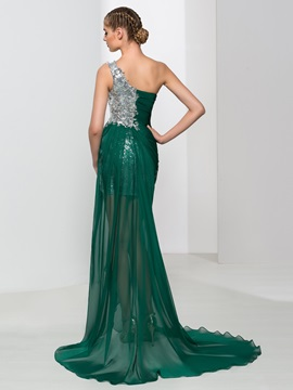 Attractive One Shoulder Appliques Sequins Evening Dress