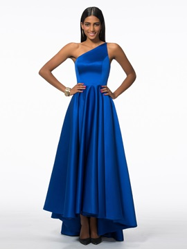 Modern One Shoulder Appliques High Low Evening Dress
