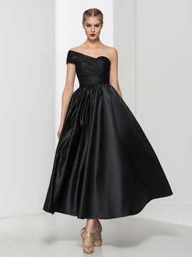 Cool One Shoulder Lace Black Ankle-Length Evening Dress