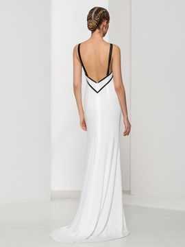 Spaghetti Straps Long Sheath Evening Dress