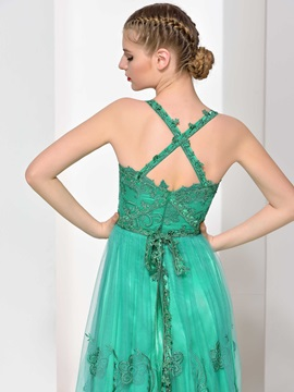 Straps A-Line Sashes Appliques Tulle Evening Dress