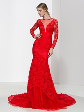 Long Sleeves Red Lace Mermaid Evening Dress
