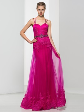 Spaghetti Straps Appliques Beading Column Tulle Evening Dress