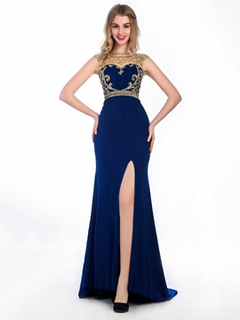 Fashionable Straps Beading Split-Front Mermaid Evening Dress