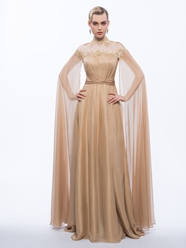 Vintage High Neck Sequins Long Evening Dress