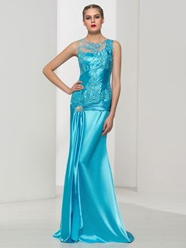 Elegant Straps Appliques Crystal Sheath Evening Dress