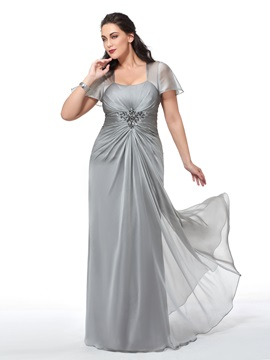 Pleats Short Sleeves Beading Plus Size Evening Dress