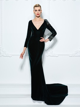 Deep V-Neck Long Sleeves Velvet Crystal Sheath Evening Dress