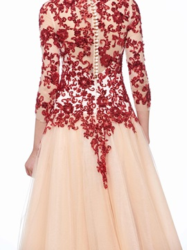 3/4 Length Sleeves Sequins Appliques Button Evening Dress