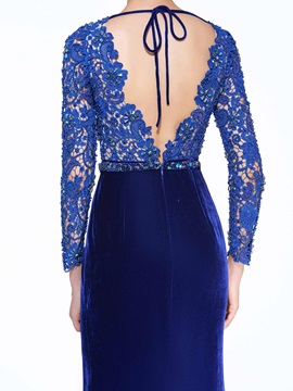 V-Neck Long Sleeve Beading Lace Evening Dress