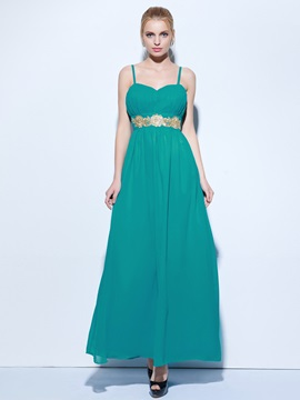 Hot Sale Spaghetti Straps Appliques Long Evening Dress