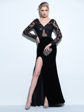 V-Neck Long Sleeves Split-Front Lace Evening Dress