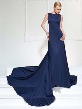 Concise A-Line Bateau Backless Court Train Evening Dress