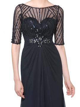 Half Sleeves Beading Sequins Black Evening Dress