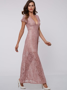 V-Neck Short Sleeves Ankle-Length Lace Evening Dress