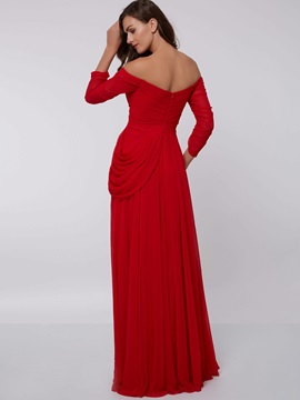 Off-the-Shoulder A-Line Draped Evening Dresss