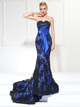 Exquisite Mermaid Sweetheart Beading Bowknot Lace Court Train Evening Dress