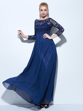 Elegant 3/4 Length Sleeves Lace Evening Dress