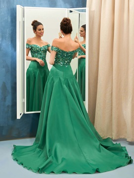 Elegant A-Line Off-the-Shoulder Sequins Chapel Train Evening Dress