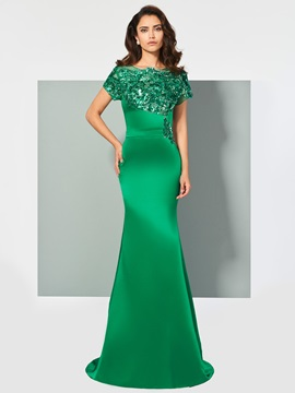 Fancy Scoop Cap Sleeves Appliques Pleats Trumpet Sweep Train Evening Dress