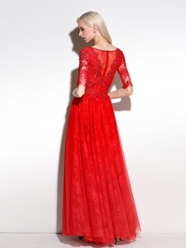 Delicate Half Sleeves A-Line V-Neck Beading Crystal Lace Long Evening Dress