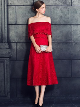 Casual A-Line Off-the-Shoulder Bowknot Lace Sashes Split-Front Evening Dress