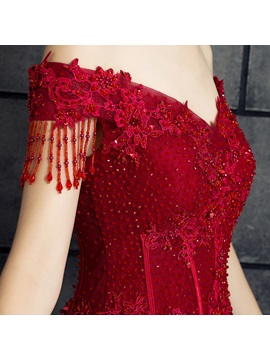 Elegant A-Line Off-the-Shoulder Appliques Beading Tassel Evening Dress