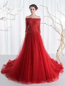Off-the-Shoulder Appliques Beading Evening Dress