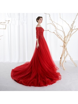 Stunning A-Line Off-the-Shoulder Appliques Beading Chapel Train Evening Dress