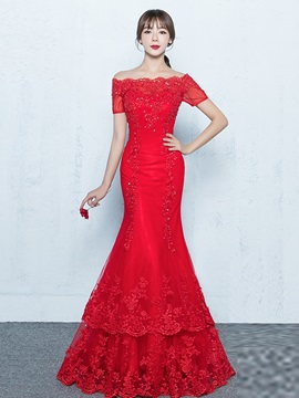 Elegant Off-the-Shoulder Mermaid Short Sleeves Appliques Beading Floor-Length Evening Dress