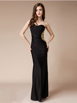 Elegant Sheath One-Shoulder Beading Sequins Floor-Length Evening Dress