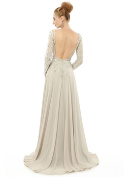 Elegant A-Line Scoop Long Sleeves Beading Sashes Court Train Evening Dress