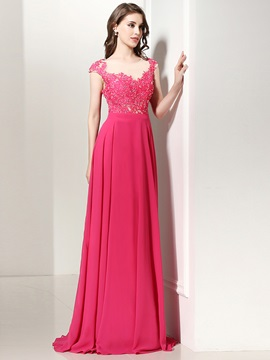 Pretty A-Line Scoop Cap Sleeves Appliques Beadied Sweep Train Evening Dress