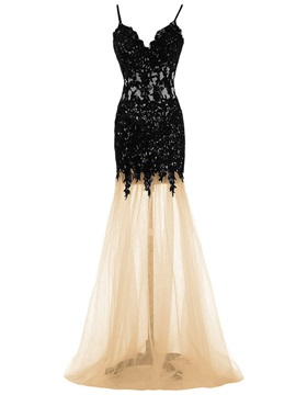 Simple A-Line Spaghetti Straps Appliques Brush Train Evening Dress