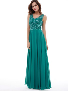 Elegant A-Line Lace Beaded Chiffon Floor-Length Long Evening Dress