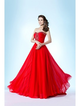 Beading Sweetheart A-Line Sweep Train Floor-Length Prom Dress