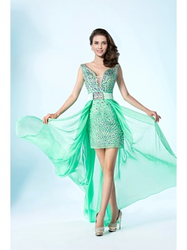 Detachable Column/Sheath V-Neckline Beading Asymmetry Prom Dress