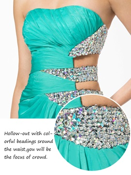 Hollow Out A-Line Strapless Sequins Beading Long Evening Dress