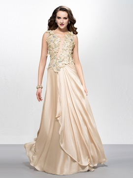 Beautiful Scoop Neck Flowers Beading A-Line Long Prom Dress Designed